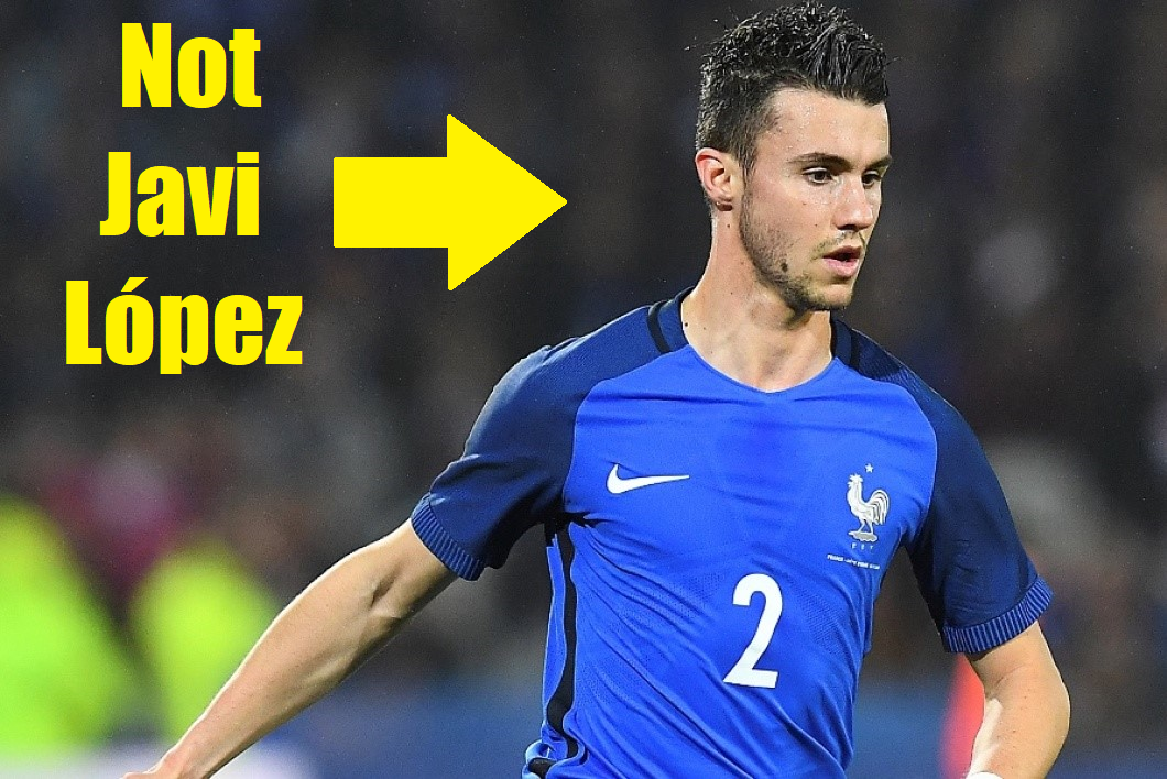 "Sébastien Corchia playing for France, with a text overlay saying ""not Javi López""."