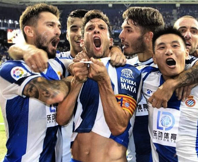 Javi López celebrates putting Espanyol ahead