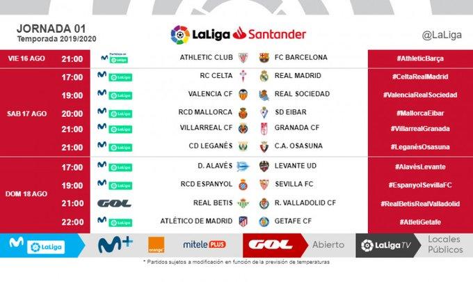 Round one fixture LaLiga 19/20