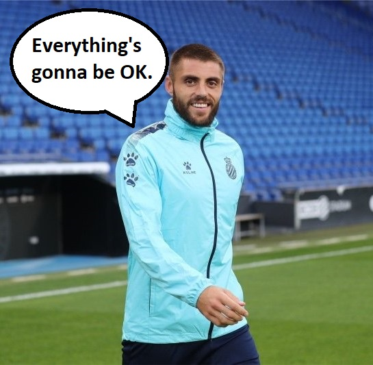 "Espanyol player David López with a speech bubble saying, ""Everything's gonna be OK."""