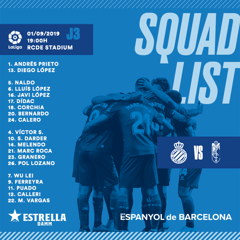 Squad list for today's clash with Granada