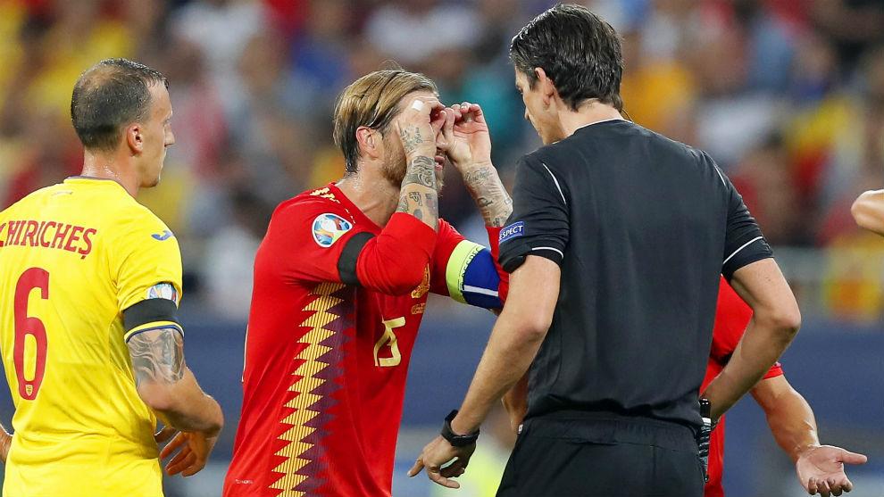 Sergio Ramos looks at the referee