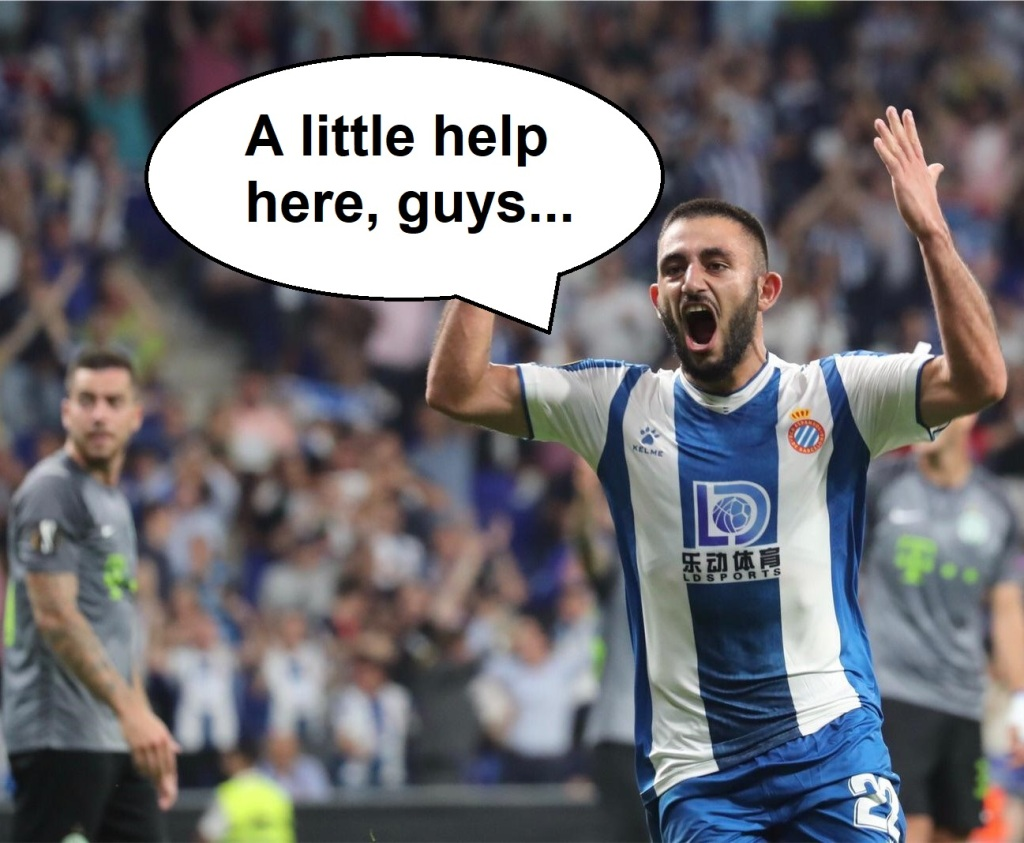 "Espanyol player Matías Vargas with a speech bubble containing the text, ""A little help here, guys..."""